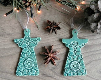 Mint Ceramic Angel Lace Top Home Decor Ornament Set of 2 Ornament