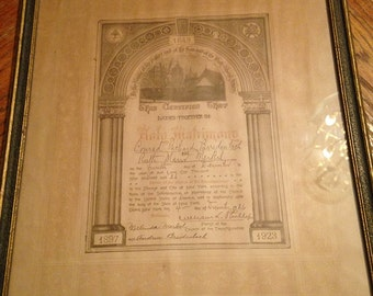 Antique Framed Marriage Certificate