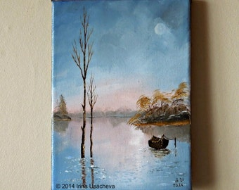 "Original Landscape Oil Painting  ""Silent Waters"""