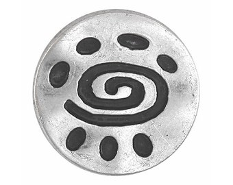 3 Spiral Glyph 7/8 inch ( 22 mm ) Metal Buttons Antique Silver