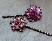 Decorative Hair Pins 1950's Kramer Pink Rhinestone Bridal Bobby Pins