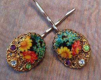 Black Red Yellow Blue Floral  Bridal Hair Pins West Germany Jewelry Decorative Bobby Pins Filigree Rhinestone