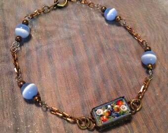 Micro Mosaic Bracelet 1920 1930 Vintage  Bridal Blue Wedding Jewelry Czech Glass