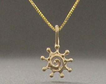 Tiny Spiral SUN 14k gold pendant, solid gold necklace made in USA