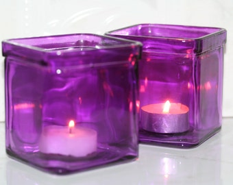Purple Candle Holders Purple Vase Lilac Vase Lilac Candle Holders Purple Vases Plum Vases Glass Candle Votives Wedding Decor