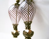 Hot Air Balloon Earrings in Plum. Handmade Steampunk Earrings. Bronze and Brown Burgundy Victorian Jewelry. Hand Blown Glass Earrings.