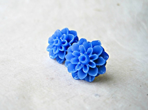 Blue Dahlia Earrings. Resin Flower Earrings. Big Chrysanthemum Earrings. Bold Flower Stud Earrings. Bright Cobalt Royal Blue Post Earrings.