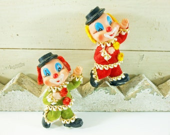 Pair of Small Flocked Clowns with Pipe Cleaner Hair Green and Red Clowns