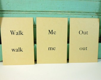 Vintage Picture Sentence Word Flashcards 1958 Set of 3 Walk Me Out