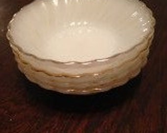 Anchor Hocking Depression Glass Dessert Bowls with gold trim -set of 4