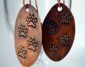 READY to SHIP Paw Prints Hand Forged Copper Dangle Earrings CPE80