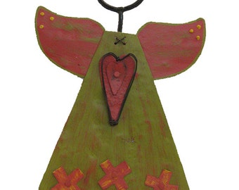 Wonder Angel  Reclaimed Rustic Metal Folk Art