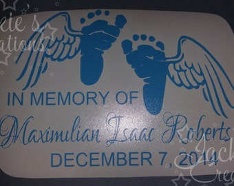 In Loving Memory of Decal with Baby Feet and Wings