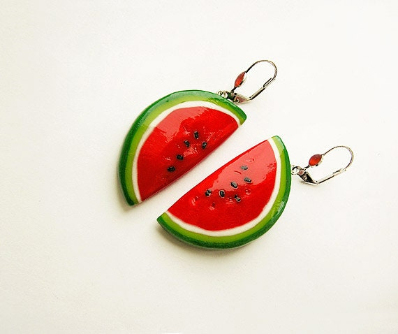 Watermelon Red Earrings bright funny jewelry, red and green, summer jewelry, vegetarian jewelry, CIJ sale
