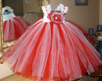 Red and White Candy Cane Christmas Flower Girl Tutu Dress
