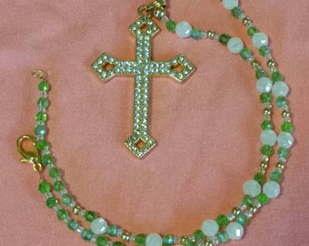 Sparking Cross with Beaded Necklace