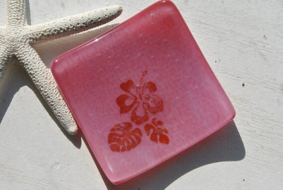 Hibiscus 3x3 Small Square Glass Fused Dish in pink glass