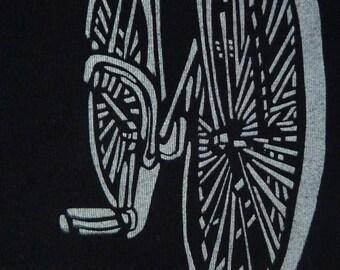 Vintage Bike, screen printed on flat Black organic Cotton, short sleeve Tshirt, size S, kids CLOSEOUT SALE