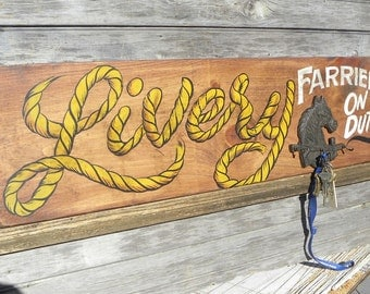 Livery Farrier  Horse Sign, hand painted, - original sign, western decor,  ZDW 2