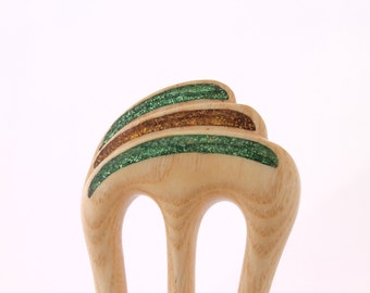 Wooden hair fork, 3 prong, Hair sticks, Wood, Ash tree, Incrustations, Hairpin, Handmade, Hair accessory, WoodArtJewelry