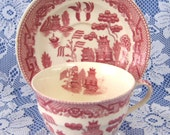 Ridgway England Cup And Saucer Willow Red Transferware Old Willow 1890s