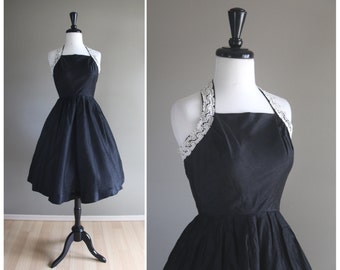 Gorgeous 1950s Vintage Black Sharkskin Halter Dress w/ Crochet Lace Detail / 1940s