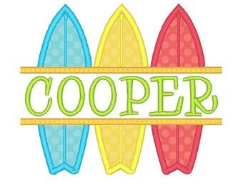 Split Surf Boards Applique Embroidery Design- Instant Download