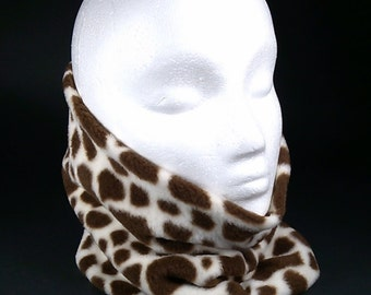GIRAFFE Print Gator, Soft Warm Fleece Neck Warmer Gaiter Scarf Headwrap Neckwarmer Teen Adult Sz