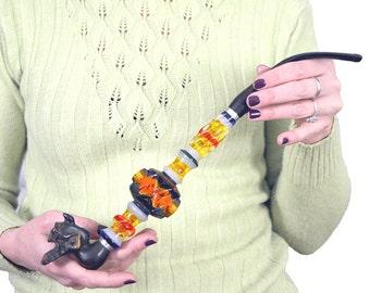 Cigarette Holder, Hand Carved Cigarette Holder, Vulcanite Devil, Vintage Cigarette Holder, Mouthpiece For Cigarette, USSR, Soviet Era, Amber