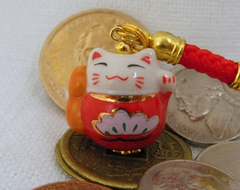 Lucky Beckoning Fortune Cat Porcelain Handbag/Cellphone Charm with Red Braided Strap/Lanyard and Bell. Lotus and Gourd