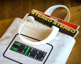AM/ FM Screen Printed Canvas Tote Bag, Radio Tuner Tote, LP Bag, Ready to Ship