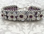 Silver and Purple Flower Beaded Bracelet