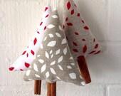 Set of 3 Linen Christmas Ornaments, Decoration, handprint, holidays, stocking stuffer, red, white