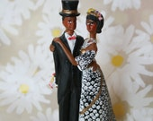 Vintage Wedding Cake Topper, African American Couple, Bride and Groom, with Top Hat