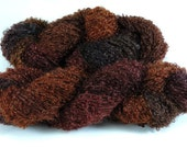 Hand Dyed Yarn Mohair Wool Dark Brown Wood  Red Loop Mohair 2438