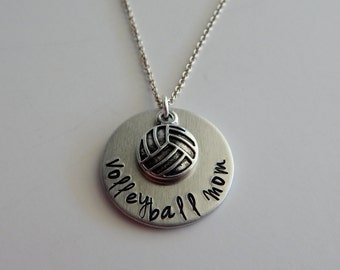 Volleyball Mom - Hand Stamped Necklace - Sports Mom - Gift for Volleyball Mom
