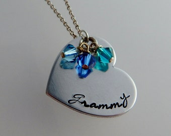 Grammy - Custom Hand Stamped Heart Shape Necklace with Birthstone - Grandmother Jewelry - Mother's Day - Pregnancy Reveal