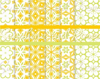 Yellow and Green Pattern 12 x 12 Backgrounds For Scrapbooking and Crafts, Digital Download, Scrapbook Papers