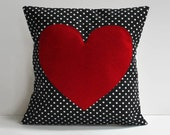 red heart pillow cover // black and white polka dot pillow // 12X12 pillow cover //heart accent pillow //polkadot pillow cover //heart decor