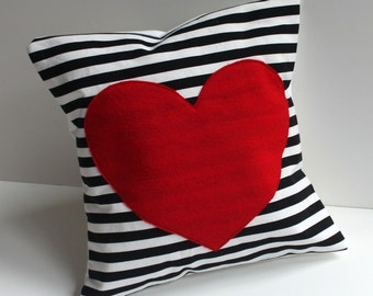 Red Heart Pillow Cover Black And White Striped Felt Heart
