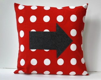 arrow pillow cover // polka dot pillow cover // applique pillow // 18 inch pillow cover // grey and red chevron pillow // grey arrow pillow
