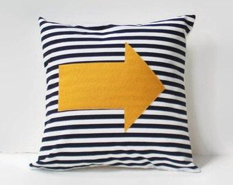 yellow arrow pillow cover //black and white striped pillow //felt appliqué cushion //16X16 pillow //black and yellow pillow //16 inch pillow