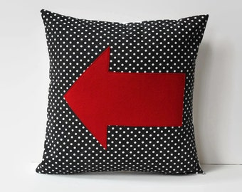 red arrow pillow cover // black and white polka dot cushion cover //  pillow cover 14X14 // felt appliqué cushion // arrow home decor