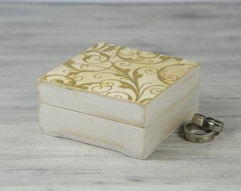 Wedding Ring Bearer box, Ring Bearer Box, Wedding Ring Bearer Pillow, white gold wedding , Pillow Alternative