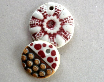 Pink And White Porcelain Pendants, Jewelry Supplies, Handmade Jewelry