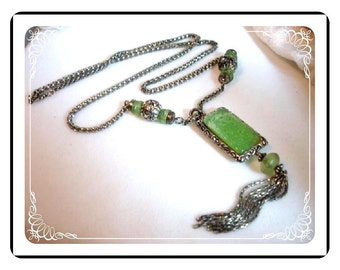 Jade Green Necklace - Glass Necklace & Chain - Retro Groovey 1970's Neck-1129a-012312000