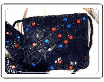 Beaded Evening Bag  - Vintage Black w Matching Beaded Belt    PR-B026a-092613000