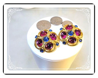 Signed Sphinx  Earrings - Vintage Blue & Fuchsia Pink Jewel Tone Clip-on    E797a-100412000