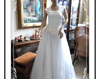 Brides Wedding Dress - Drop Waist - White Wedding Dress - Full Length Swing - Hemline for Brides Perfect Day - bride-001a-092113000