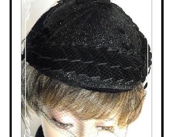 Velvet Sparkling Hat -  Vintage with Polka Dot Netting - Mad Men Style - H-026a-040913015